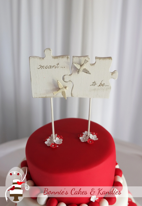'Meant to be' – wooden puzzle piece cake toppers expressed the sentiment of the day as Chris & Emma were married in Gympie earlier this month |  Bonnie's Cakes & Kandies