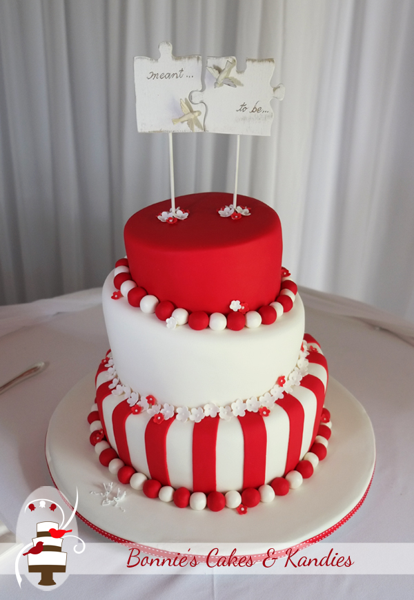 Red and white for a future that's bright – congratulations on your wedding, Emma & Chris |  Bonnie's Cakes & Kandies