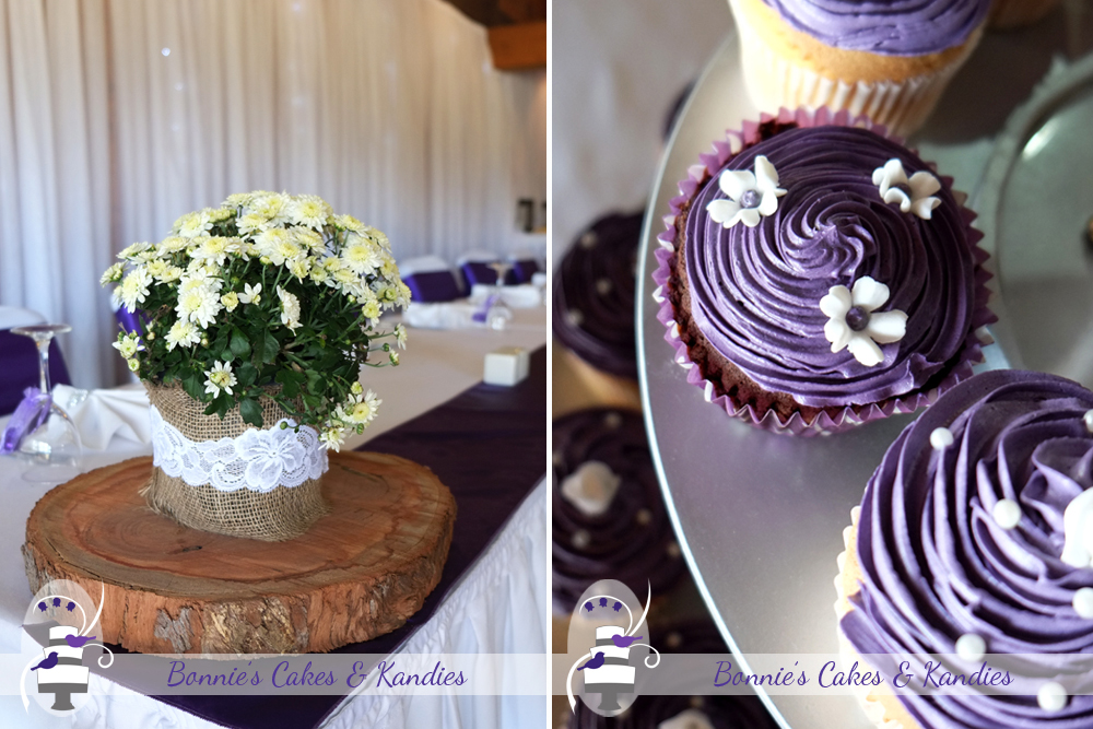 Reception décor: Rustic elements combined with softer touches of lace and fresh flowers. Vegan cupcake: a vegan-friendly cupcake was made especially for one of the wedding guests  |  Bonnie's Cakes & Kandies