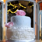 Pink grey and white wedding cake by Bonnie's Cakes and Kandies