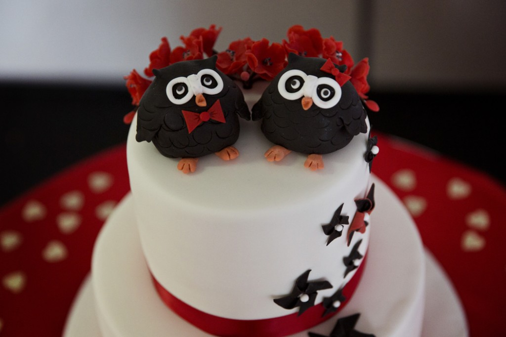 Photo credit: Michelle Schulga Photographer. Cake and owl toppers: Bonnie's Cakes & Kandies