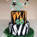Tiger stripes for a fun 40th birthday cake