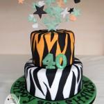 Tiger stripes for a fun 40th birthday cake