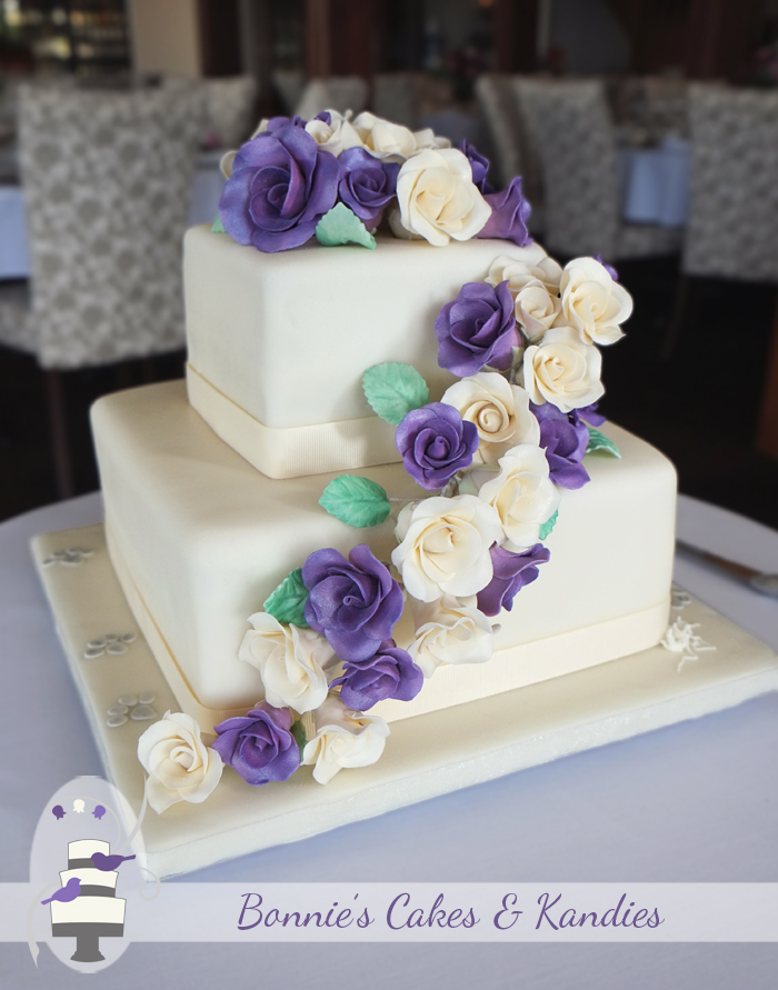 An elegant square wedding cake with handmade icing flowers for a Maleny wedding in the Sunshine Coast Hinterland     Bonnie's Cakes & Kandies
