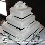 Three tiers of black and white elegance  {Maleny wedding cake}