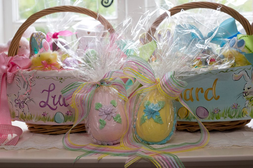 Made for a personal order and sent to England, my customer included old-fashioned candy Easter eggs in her children's lovely Easter baskets  |  Image supplied by Lauren