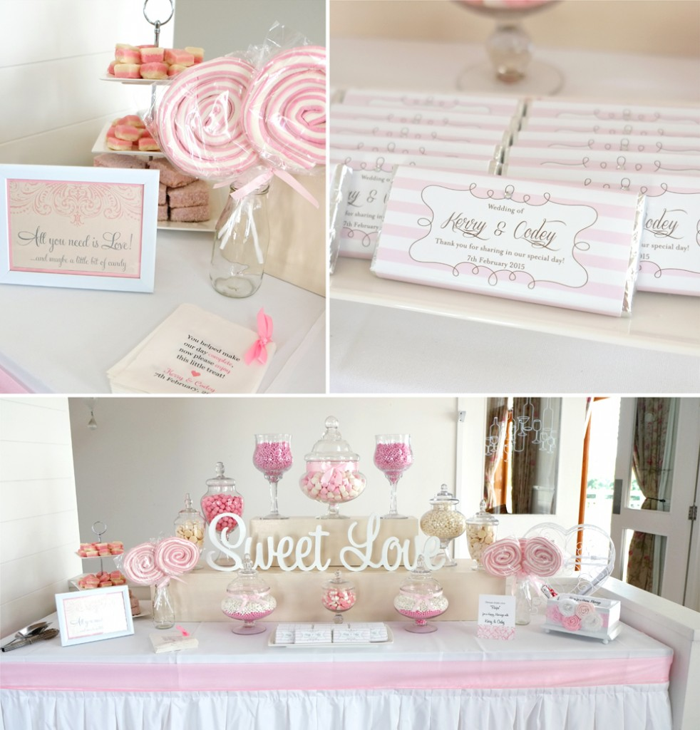 A perfectly pink and white themed lolly buffet was a very sweet addition to the reception |  Bonnie's Cakes & Kandies
