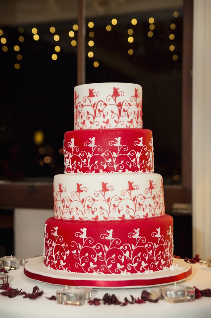 Alternating tiers of red velvet and vanilla buttercake. Wedding reception held at Gunabul Homestead in Gympie. Photo credit: Photography by Bambi