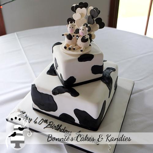 Cow print animal cake Nut free birthday cake