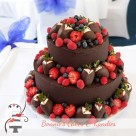 Fresh fruit and dark chocolate wedding cake for Valentine's Day wedding at the Caloundra Power Boat Club on the Sunshine Coast