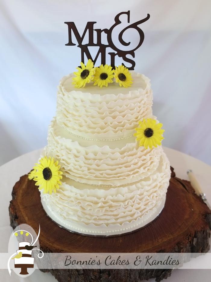 Sunflowers and ruffles for Amber & Bill's gluten free wedding cake | Bonnie's Cakes & Kandies
