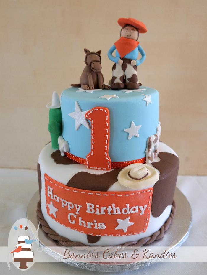 Cowboy themed first birthday cake gluten free