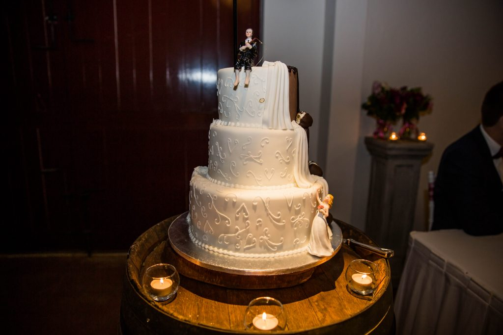 Romantic wedding cake at wedding reception